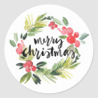 Watercolor Holly Wreath Merry Christmas Sticker