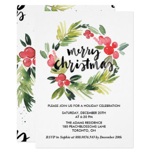 Watercolor Holly Wreath Merry Holiday Party Card at Zazzle