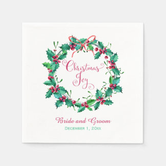 Watercolor Holly Wreath Wedding Paper Napkins