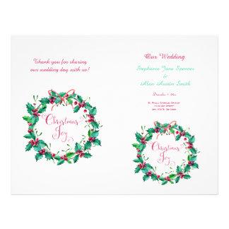 Watercolor Holly Wreath Wedding Program Flyers