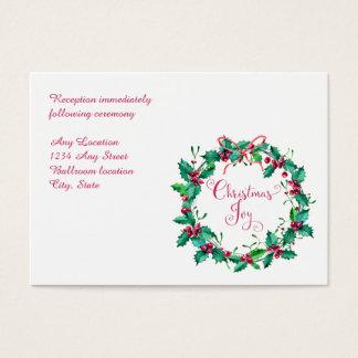 Watercolor Holly Wreath Wedding Reception Card
