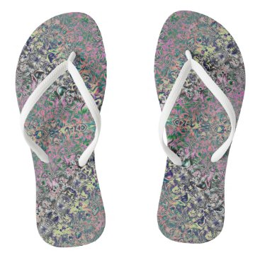 Beach Themed Watercolor Holograms Fractal Flip-Flops Flip Flops