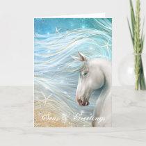 Watercolor Horse Art Beach Christmas Holiday Card