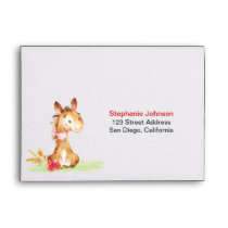 Watercolor Horse Baby Shower Farm Envelope