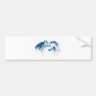 Watercolor horse kiss, horse love bumper sticker