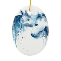 Watercolor horse kiss, horse love ceramic ornament