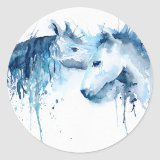 Watercolor horse kiss, horse love classic round sticker