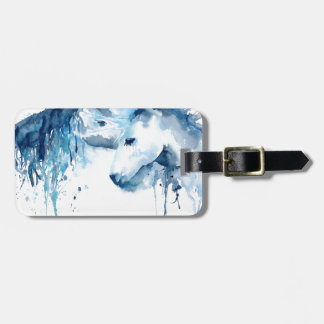 Watercolor horse kiss, horse love luggage tag
