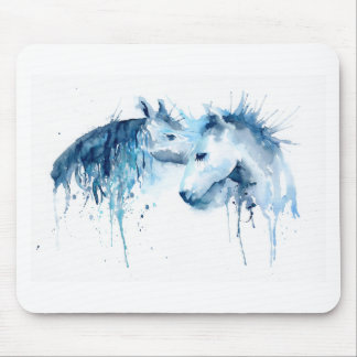 Watercolor horse kiss, horse love mouse pad