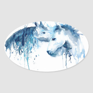Watercolor horse kiss, horse love oval sticker