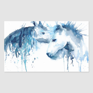 Watercolor horse kiss, horse love rectangular sticker