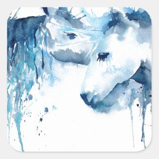 Watercolor horse kiss, horse love square sticker