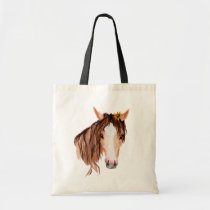 """Watercolor Horse, """"Life is better..."""" Tote Bag"""