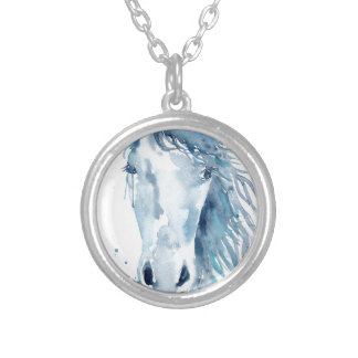 Watercolor horse portrait silver plated necklace