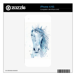 Watercolor horse portrait skins for iPhone 4