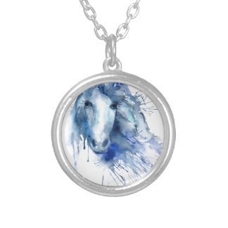 Watercolor horse Portrait with paint splatter Silver Plated Necklace