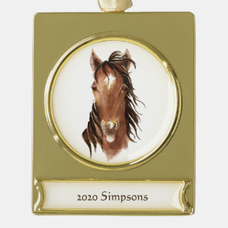 Watercolor Horse Sticking Tongue Out Attitude art Gold Plated Banner Ornament