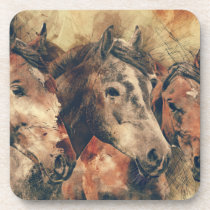 Watercolor Horses Beverage Coaster