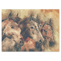 Watercolor Horses Decoupage Tissue Paper