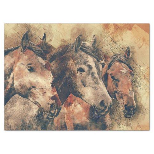 Watercolor Horses Decoupage Tissue Paper