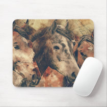 Watercolor Horses Mouse Pad