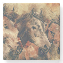 Watercolor Horses Stone Coaster