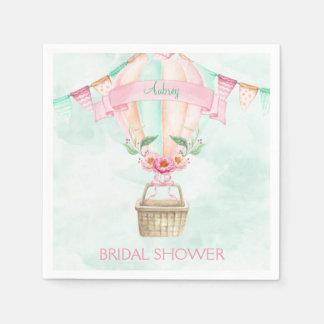 Watercolor Hot Air Balloon Mint Pink Peach Napkin