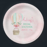 """Watercolor Hot Air Balloon Mint Pink Peach Paper Plate<br><div class=""""desc"""">Watercolor hot air balloon on a pink background. Customize for your event.</div>"""
