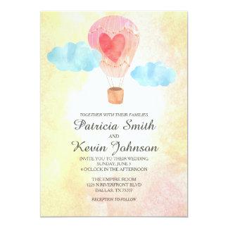 Watercolor Hot Air Balloon Wedding 5x7 Paper Invitation Card