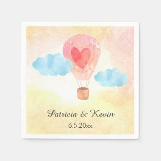 Watercolor Hot Air Balloon Wedding Paper Napkin