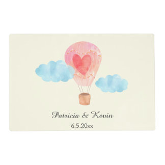 Watercolor Hot Air Balloon Wedding Placemat