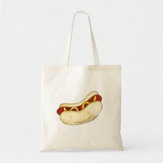 Watercolor Hot Dog w/ Mustard on Bun Junk Food Bag