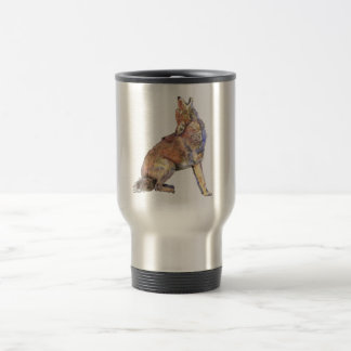 Watercolor Howling Coyote, Animal, Nature Wildlife 15 Oz Stainless Steel Travel Mug