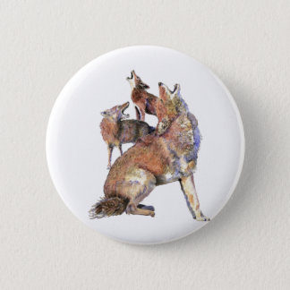 Watercolor Howling Coyote Family Animal Button