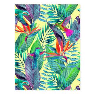Watercolor Humminbirds In The Jungle 2 Postcard