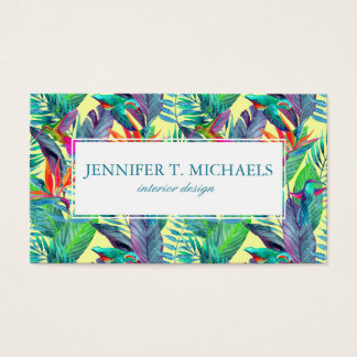 Watercolor Humminbirds In The Jungle | Monogram Business Card