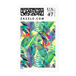 Watercolor Humminbirds In The Jungle Postage