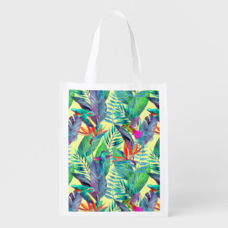 Watercolor Humminbirds In The Jungle Reusable Grocery Bag