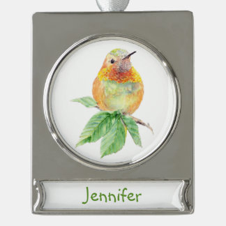 Watercolor Hummingbird Bird Nature art Custom Name Silver Plated Banner Ornament