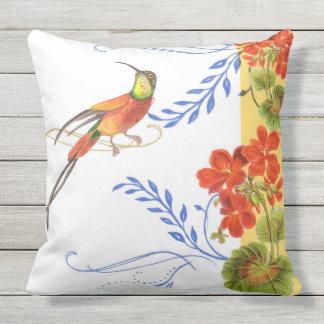 Watercolor Hummingbird Bird Red Geranium Florwers Outdoor Pillow