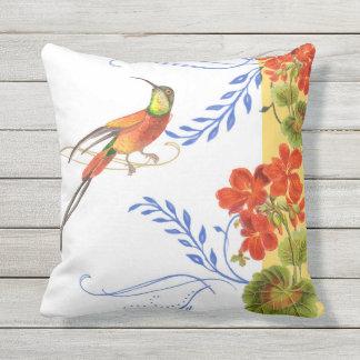 Watercolor Hummingbird Swirl Red Geranium Flowers Outdoor Pillow