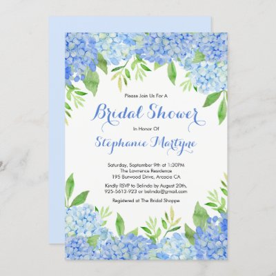 Watercolor Hydrangea Blue Floral Bridal Shower Invitation