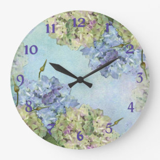 Watercolor Hydrangea Floral Large Clock