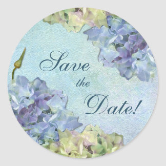 Watercolor Hydrangea Floral -  Save the Date Classic Round Sticker
