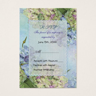Watercolor Hydrangea Floral Wedding - RSVP Business Card