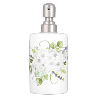 Watercolor Hydrangeas and Lilacs Soap Dispenser & Toothbrush Holder