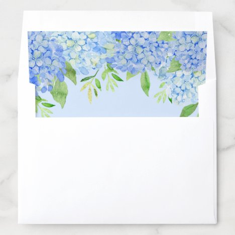 Watercolor Hydrangeas Blue Floral Greenery Envelope Liner