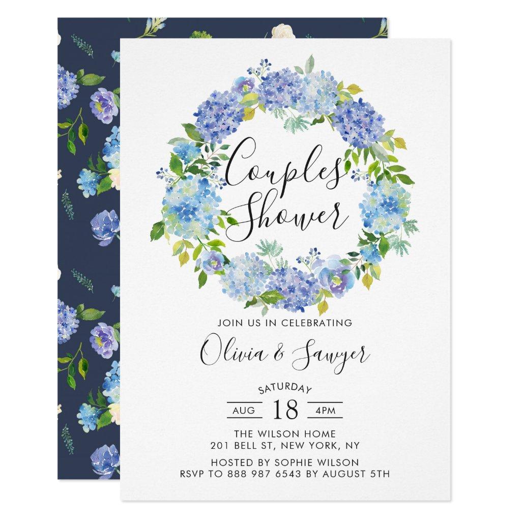 Watercolor Hydrangeas Couples Shower Invitation