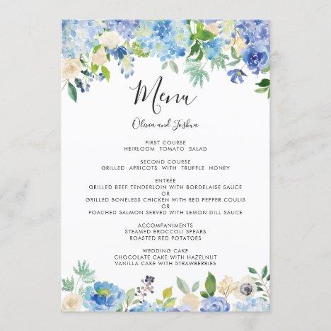 Watercolor Hydrangeas Floral Wreath Wedding Menu