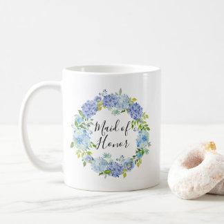 Watercolor Hydrangeas Wreath Maid of Honor Mug